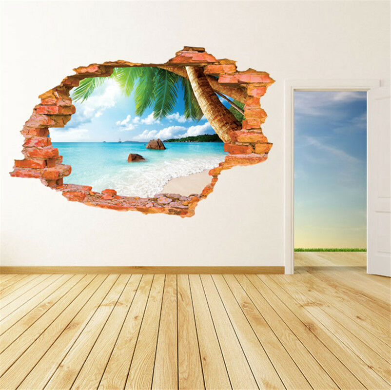 3d beach scenery removable wall sticker decal home rome for Sticker mural 3d