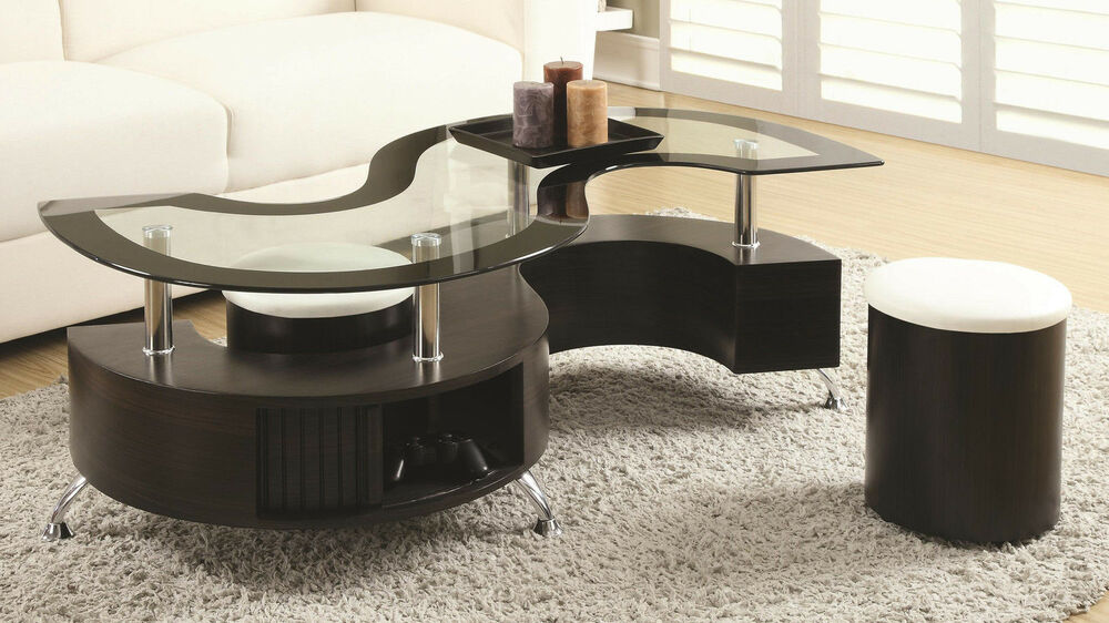 Contemporary Cappuccino Glass Top S Shape Storage