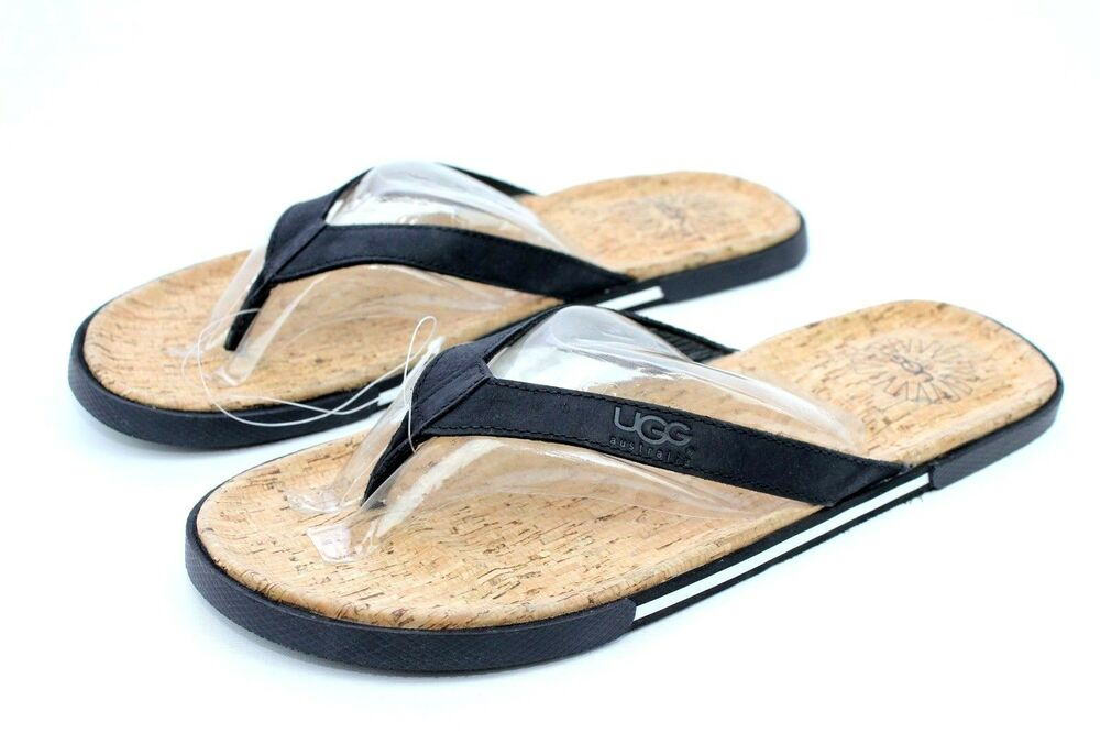 3b99c4a73d658 Details about UGG Bennison II Leather Cork Men s Flip Flops Thongs Black  Size 13 US