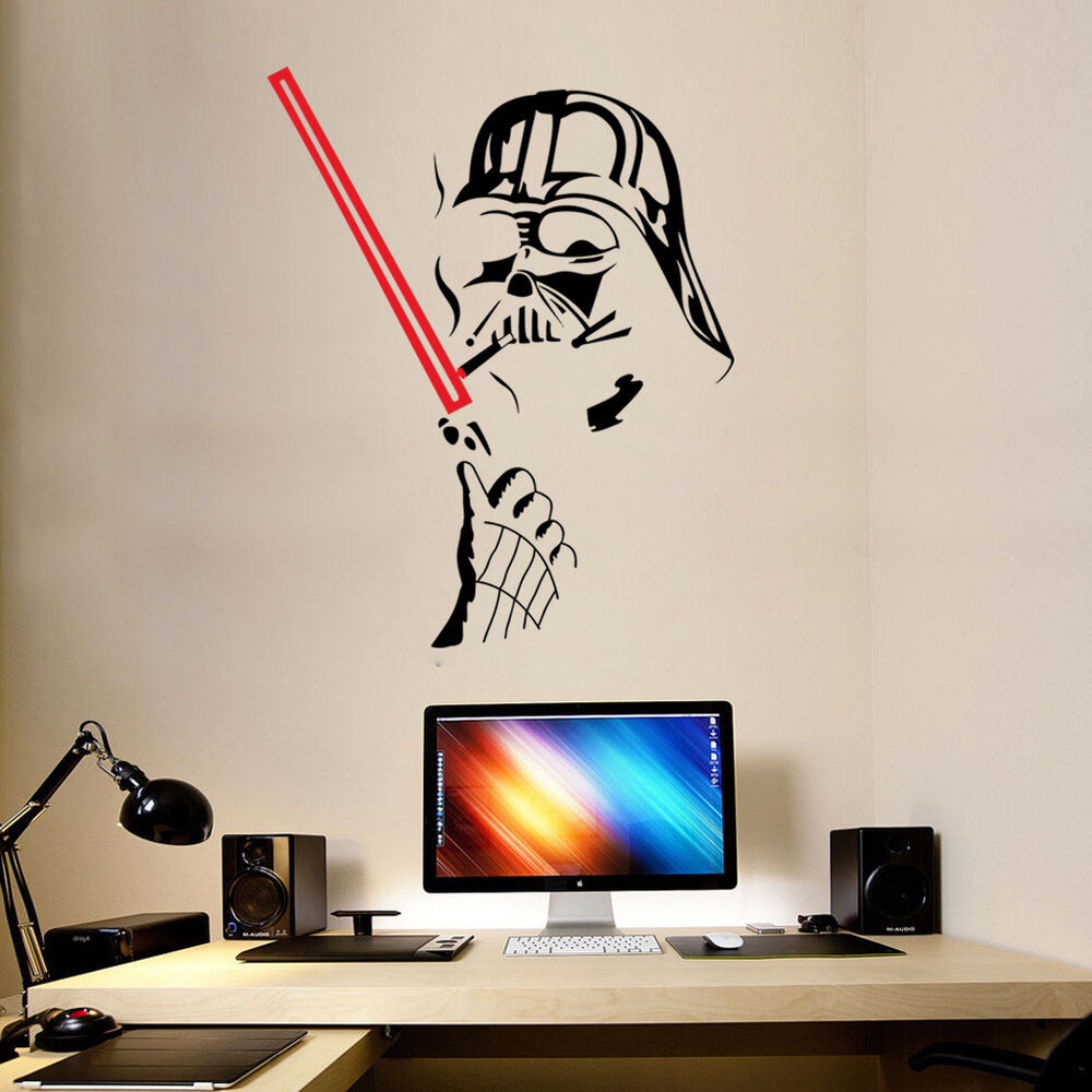star wars wall sticker vinyl darth vader art wall decals home decor removable ebay. Black Bedroom Furniture Sets. Home Design Ideas