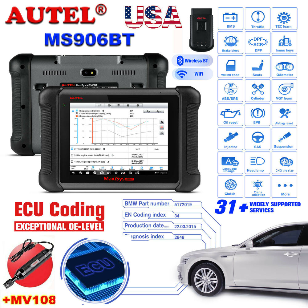 autel maxisys ms906bt obd2 auto diagnostic tool wireless scanner replace ms906 ebay. Black Bedroom Furniture Sets. Home Design Ideas