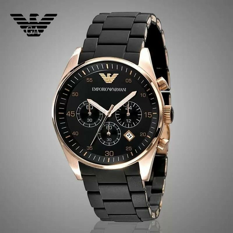 emporio armani ar5905 chronograph rose gold black men 39 s fashion watch 723763159807 ebay. Black Bedroom Furniture Sets. Home Design Ideas