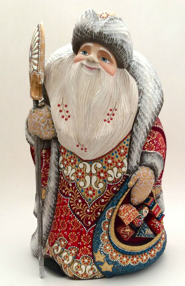 """12 Russian Supermodels Who Gained International Success: 12.5""""Russian SANTA W/bag Of Presents Wood Hand Carved Hand"""