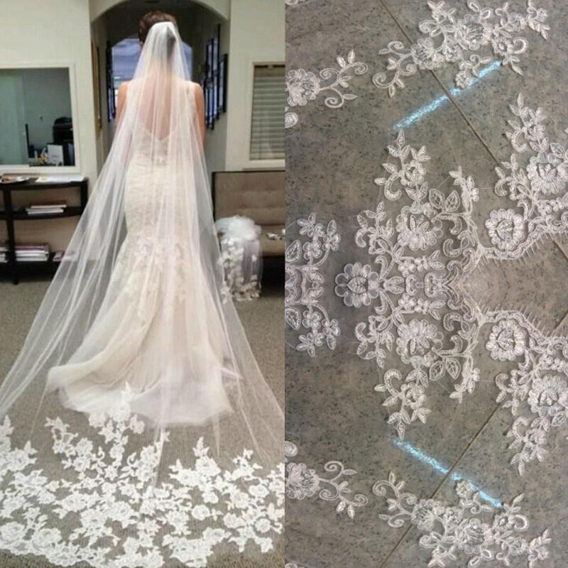 Classic white ivory lace edge cathedral length wedding for Brautschleier ivory einlagig