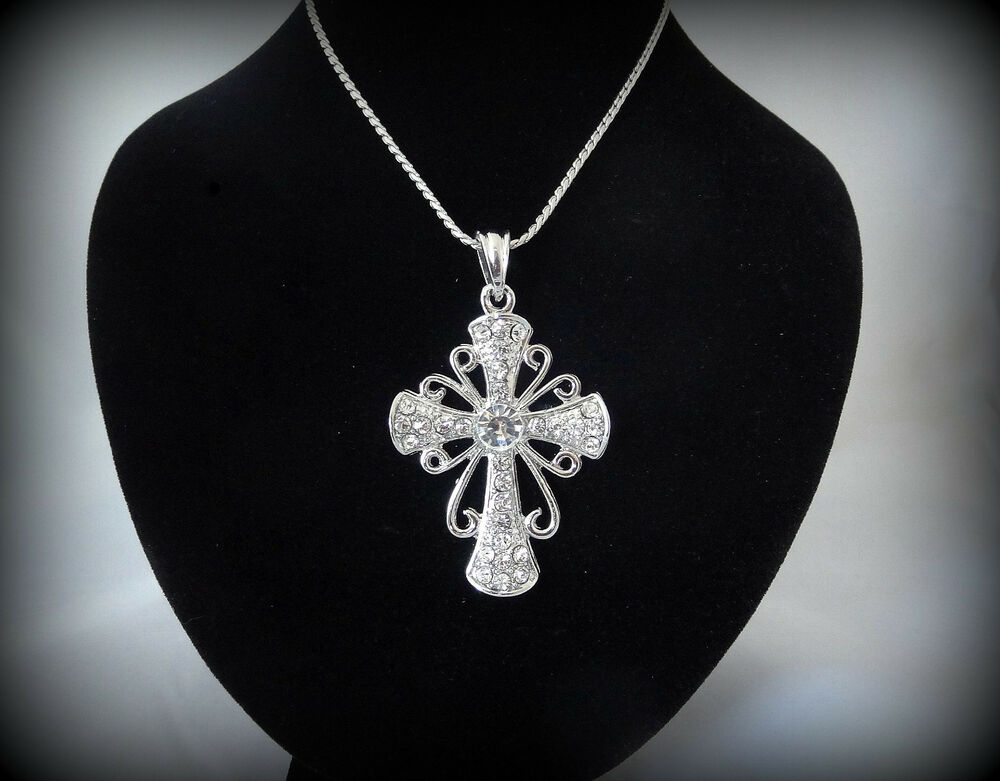 vintage insp large silver cross necklace pendant spiritual. Black Bedroom Furniture Sets. Home Design Ideas