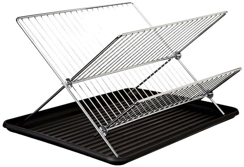 2 Tiers Chrome Stainless Steel Folding Dish Drying Rack