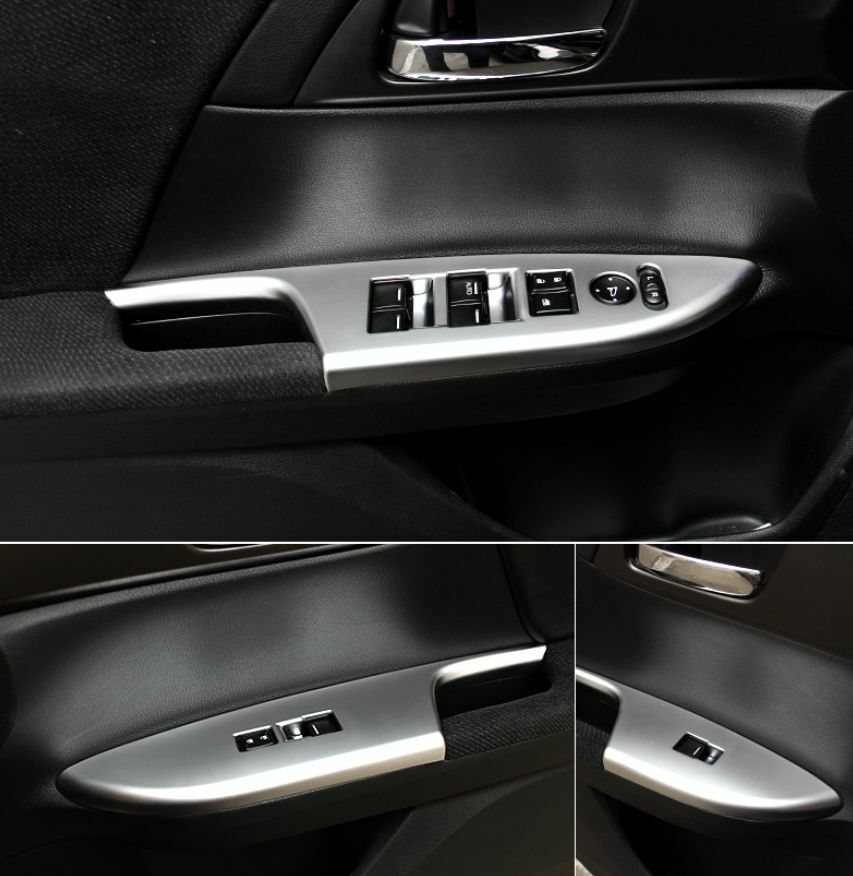 4x Chrome Interior Window Switch Panel Cover Tirm For