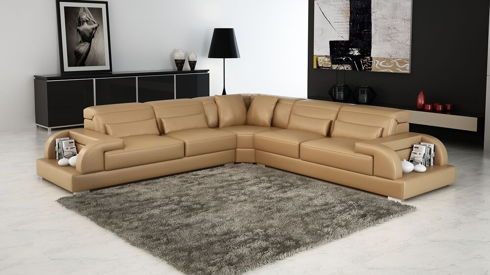 Modern large leather sofa corner suite new sandbeige black for Suite modulare