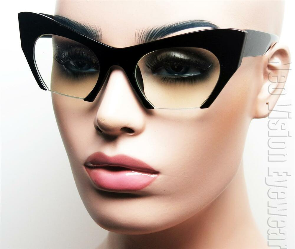 Oversized Cat Eye 50s Womens Glasses Vintage Style Clear