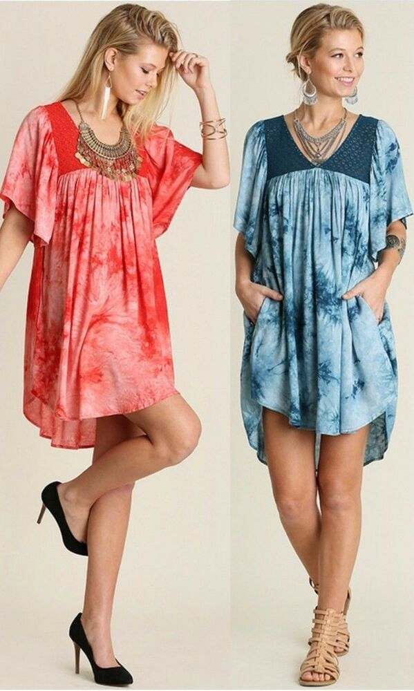 *Umgee Tie Dye Pocket Shift Dress Baby Doll Pleated ...