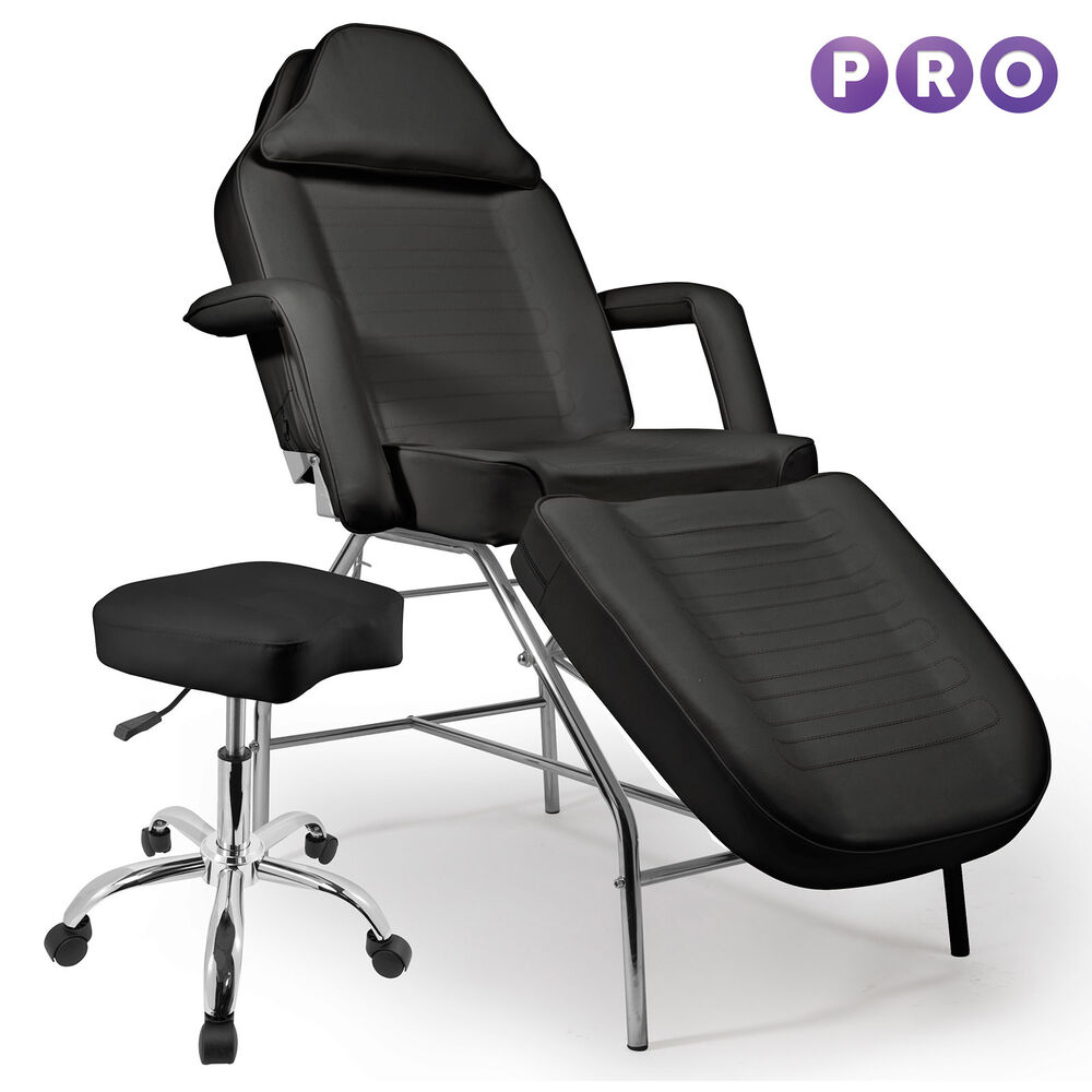 Salon facial bed massage table chair stool black ebay for Chairs in salon