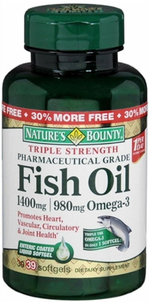 Nature 39 s bounty fish oil triple strength 1400mg 980mg of for Fish oil 1400 mg