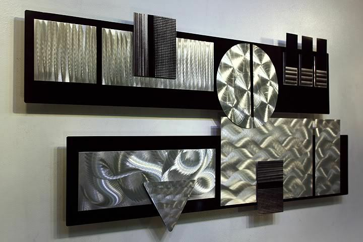 Large Silver Wall Decor: Large Modern Black & Silver 3D Metal Wall Art Sculpture
