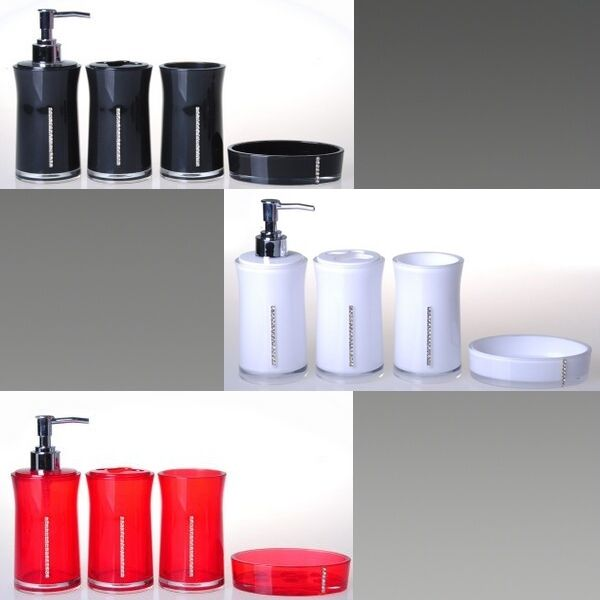4 pc round diamante bathroom accessory set soap dish dispenser tumbler 233 ebay - Bathroom soap dish sets ...