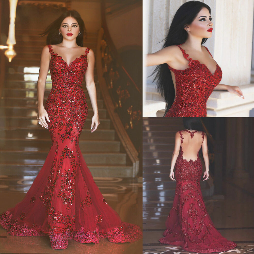 Mermaid Gown Wedding Dress: Red Evening Dresses Sequin Sleeveless Sweetheart Prom