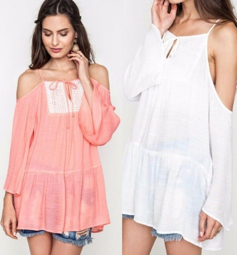 Kori America Lace Cold Shoulder Tunic Top Keyhole Tie Shut