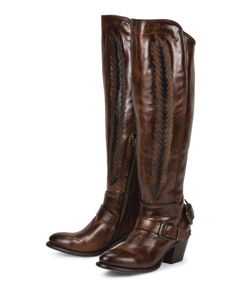 New Brown Tall Leather Womens Ladies Cowboy Fashion Riding Boots Sale Price Ebay