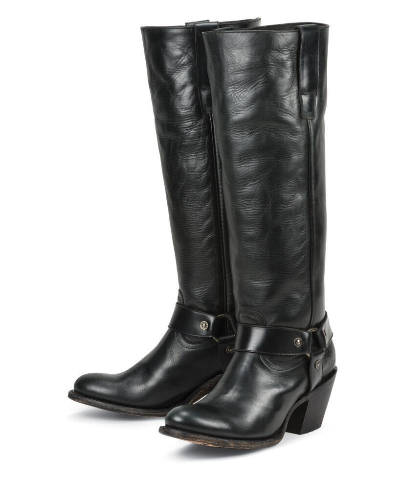 New Black Leather Womens Ladies Cowboy Fashion Riding Boots Sale Price Ebay