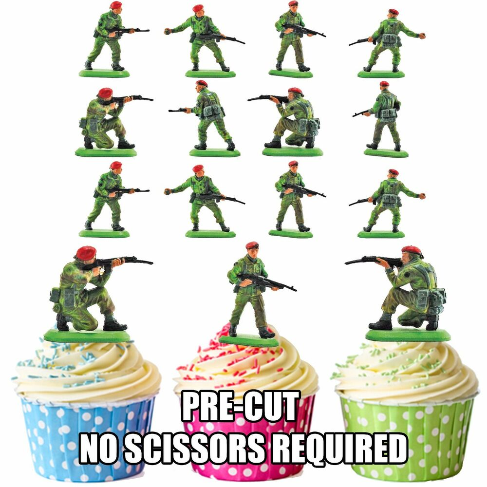 Toy Soldiers Army Party Pack - 36 Edible Cup Cake Toppers ...