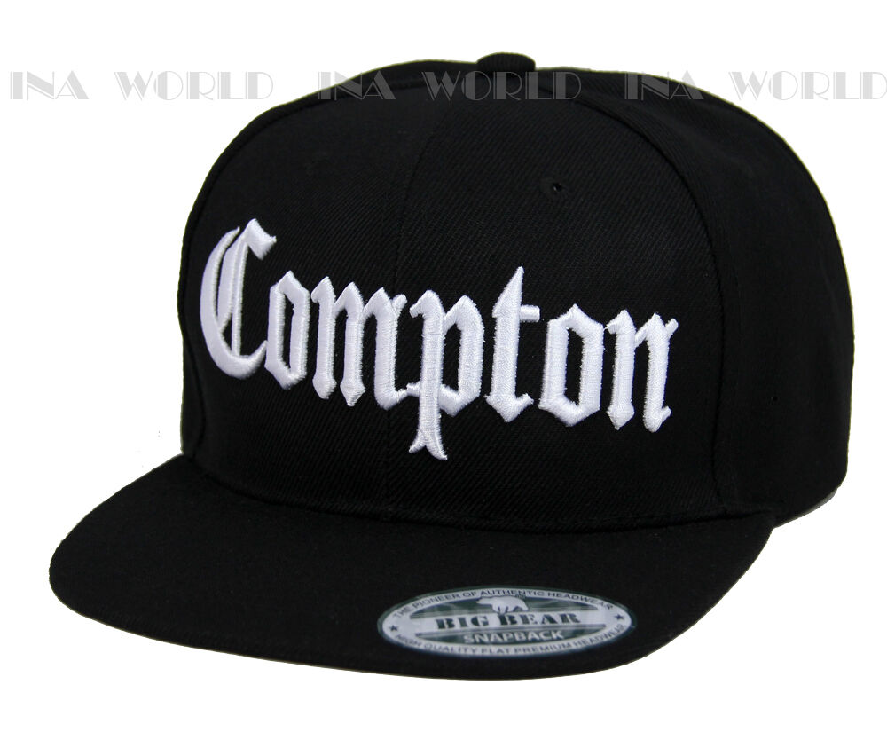 2a2ee6e239e Details about COMPTON hat 3D embroidered Snapback Baseball cap Flat Hiphop  Bill - Black White
