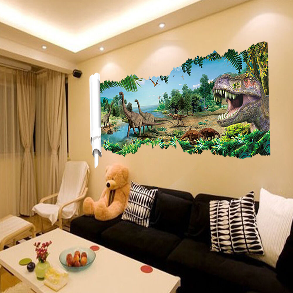 Jurassic world dinosaur scroll art wall sticker decal kids for Decoration murale 1 wall