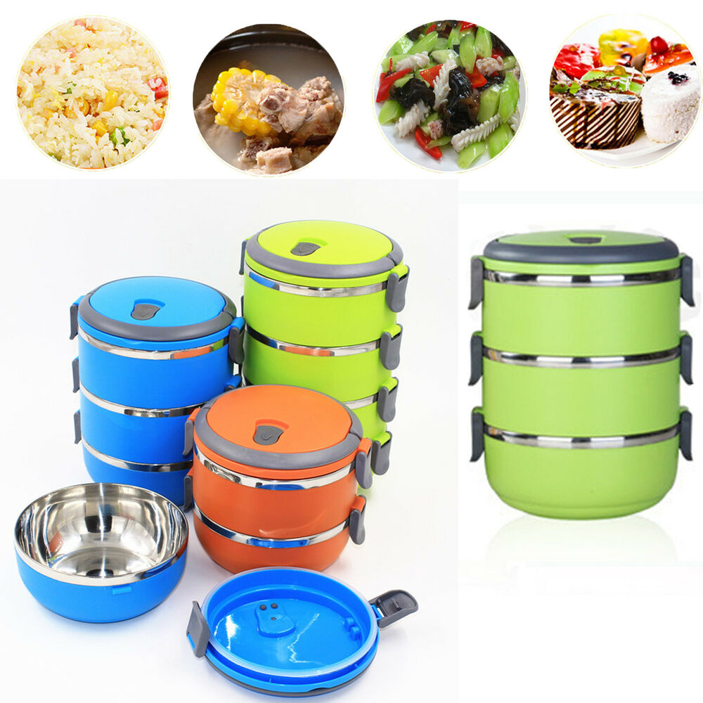 portable stainless steel thermal insulated lunch box bento picnic food container ebay. Black Bedroom Furniture Sets. Home Design Ideas