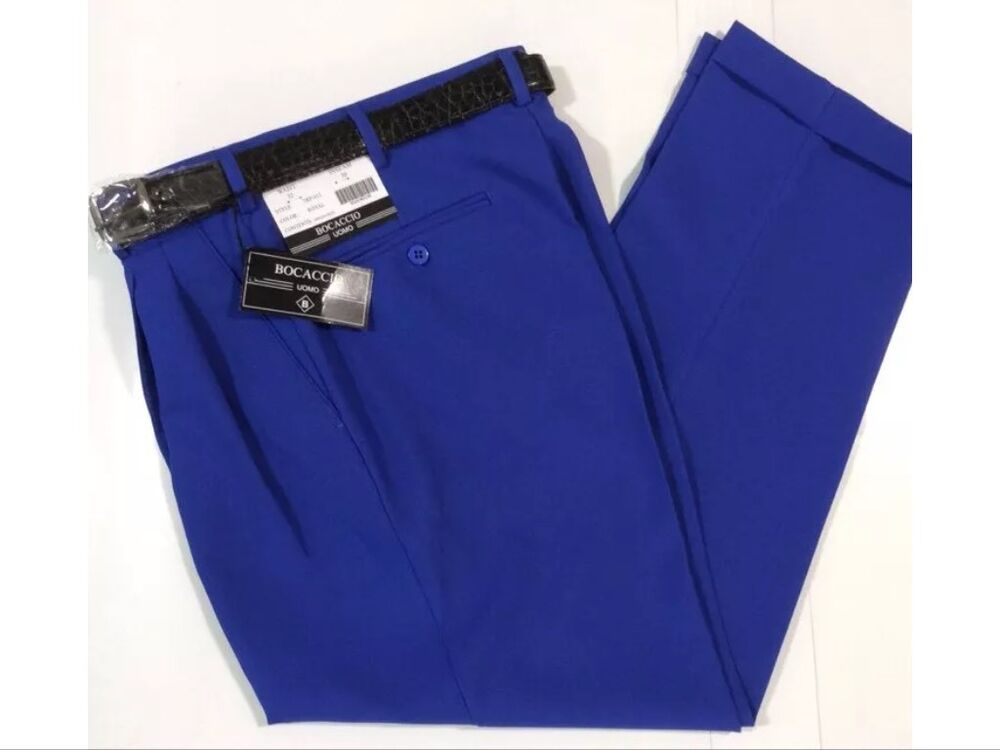 Men S Royal Blue Pleated Dress Pants Slacks Trousers Black