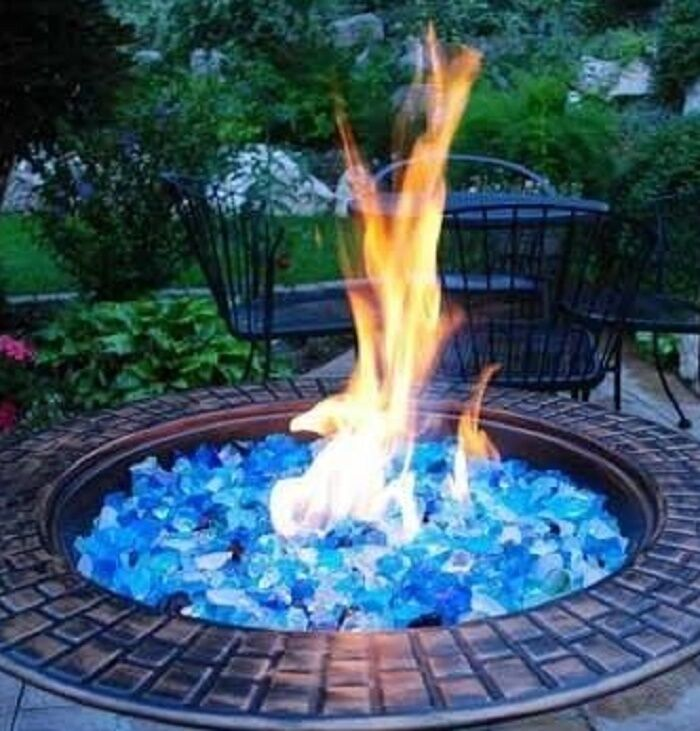 Blue Fire Glass Fire Pit Patio Heater Luminous Jewel