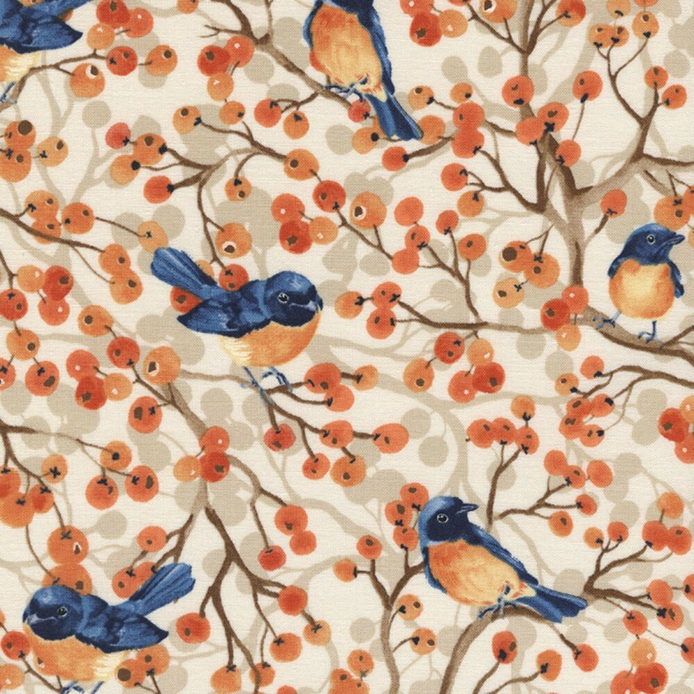 Timeless Treasures Cream Birds Amp Berries 100 Cotton