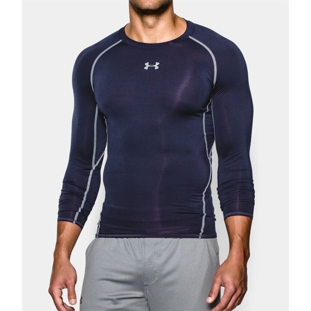 mens under armour compression shirt navy heatgear armour. Black Bedroom Furniture Sets. Home Design Ideas