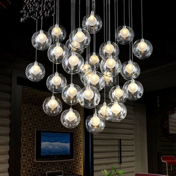 36 Lights Modern Led Glass Ball Ceiling Light Living Room