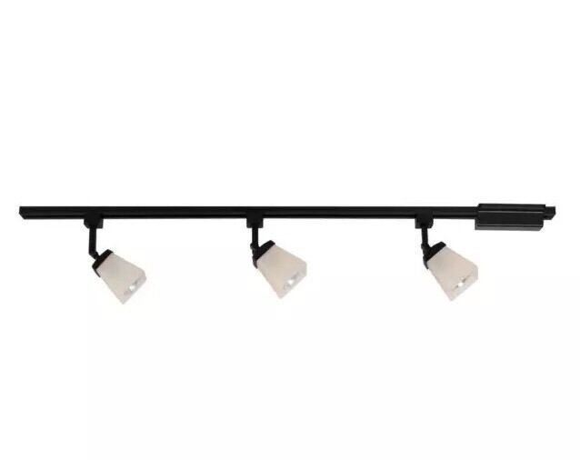 bay 3 light matte black linen glass linear track lighting kit ebay