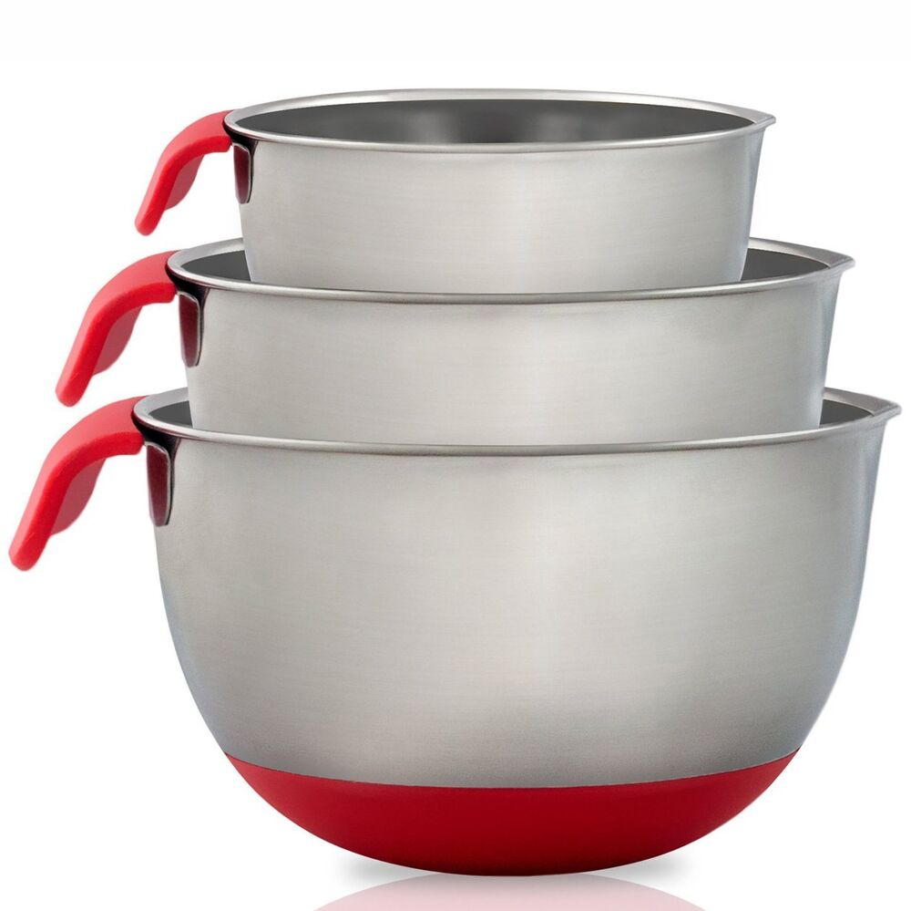 stainless steel mixing bowls with handle set of 3 black green red ebay. Black Bedroom Furniture Sets. Home Design Ideas