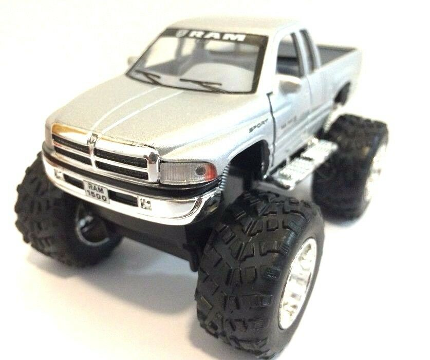 Monster Truck Dodge Ram >> Dodge Ram 1500 V8 pickup Monster truck off Road 1:44 scale diecast Model Silver | eBay