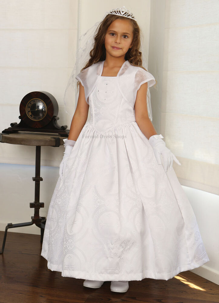 New church confirmation christening gown white first for Making baptism dress from wedding gown