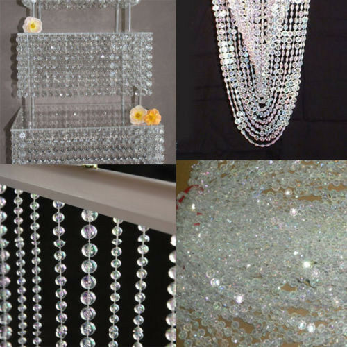 99ft garland diamond strand acrylic crystal bead wedding for Acrylic decoration