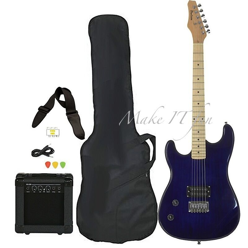 left handed electric guitars for beginners w amp case picks full size blue body ebay. Black Bedroom Furniture Sets. Home Design Ideas