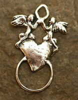 Angels on Heart Charm Holder in Sterling Silver -186s