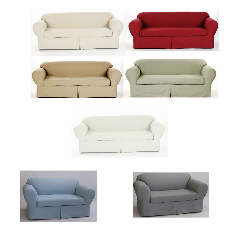 Cotton Slipcover Brushed Twill 2 Piece Cushion Couch Sofa