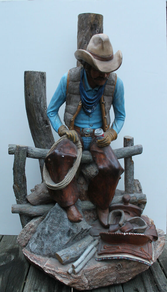 Apsit Brothers Sculptural Lamp Cowboy Seated On Fence