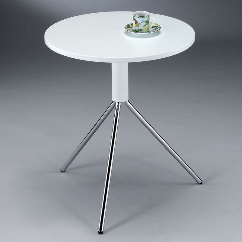 Lovely white top chrome metal legs small round accent end for Accent end tables