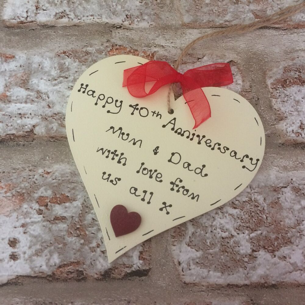 Personalised Wooden Heart Wedding Gift : personalised 40th/ruby wedding anniversary wooden heart gift/present ...