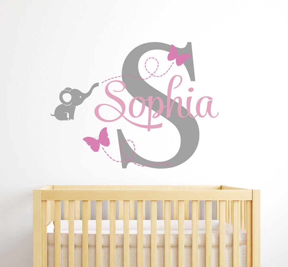 Custom elephant girl name wall decal baby room decor for Baby girl wall decoration