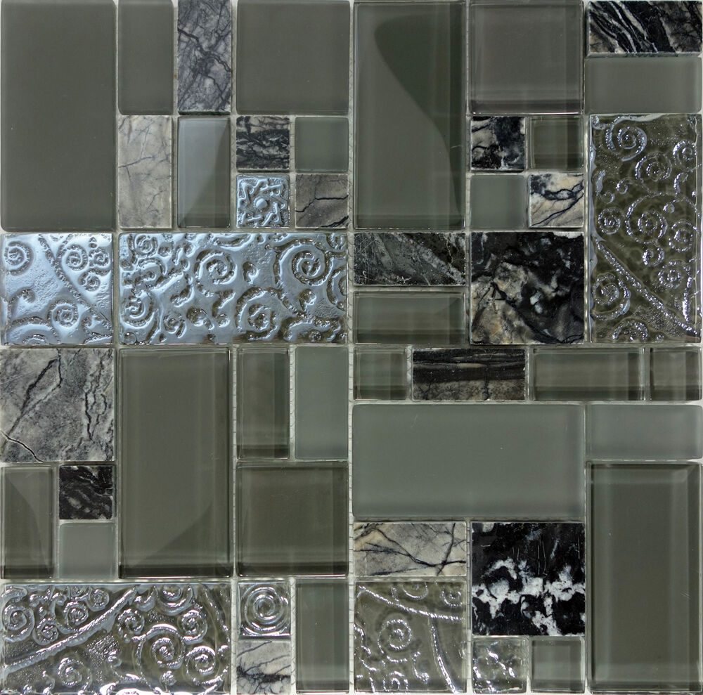10SF- Gray Green Art Deco Glass Marble Pattern Mosaic Tile