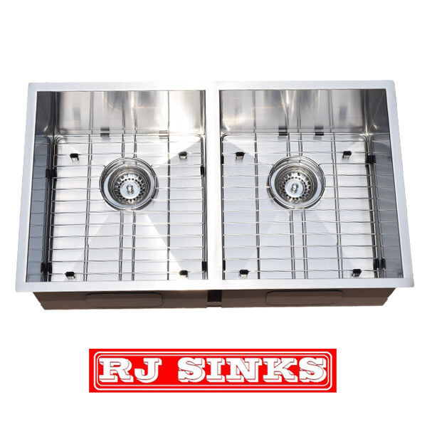 29 double bowl under mount stainless steel kitchen sink for Stainless steel kitchen base cabinets