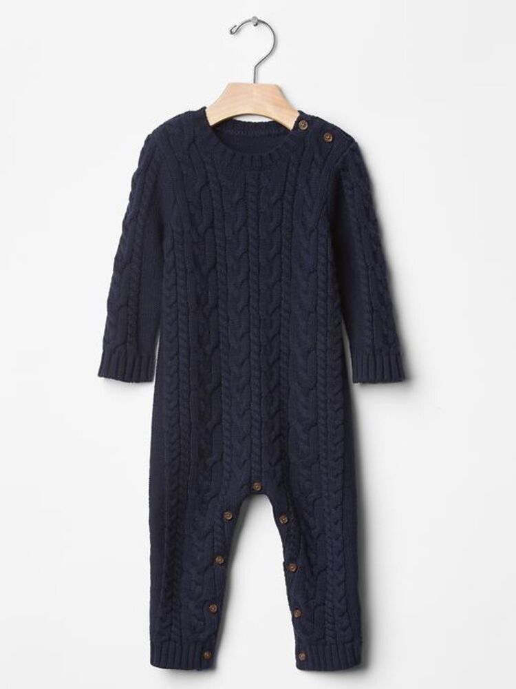 Gap Baby Toddler Boy 12 18 Months Navy Blue Cable Knit One