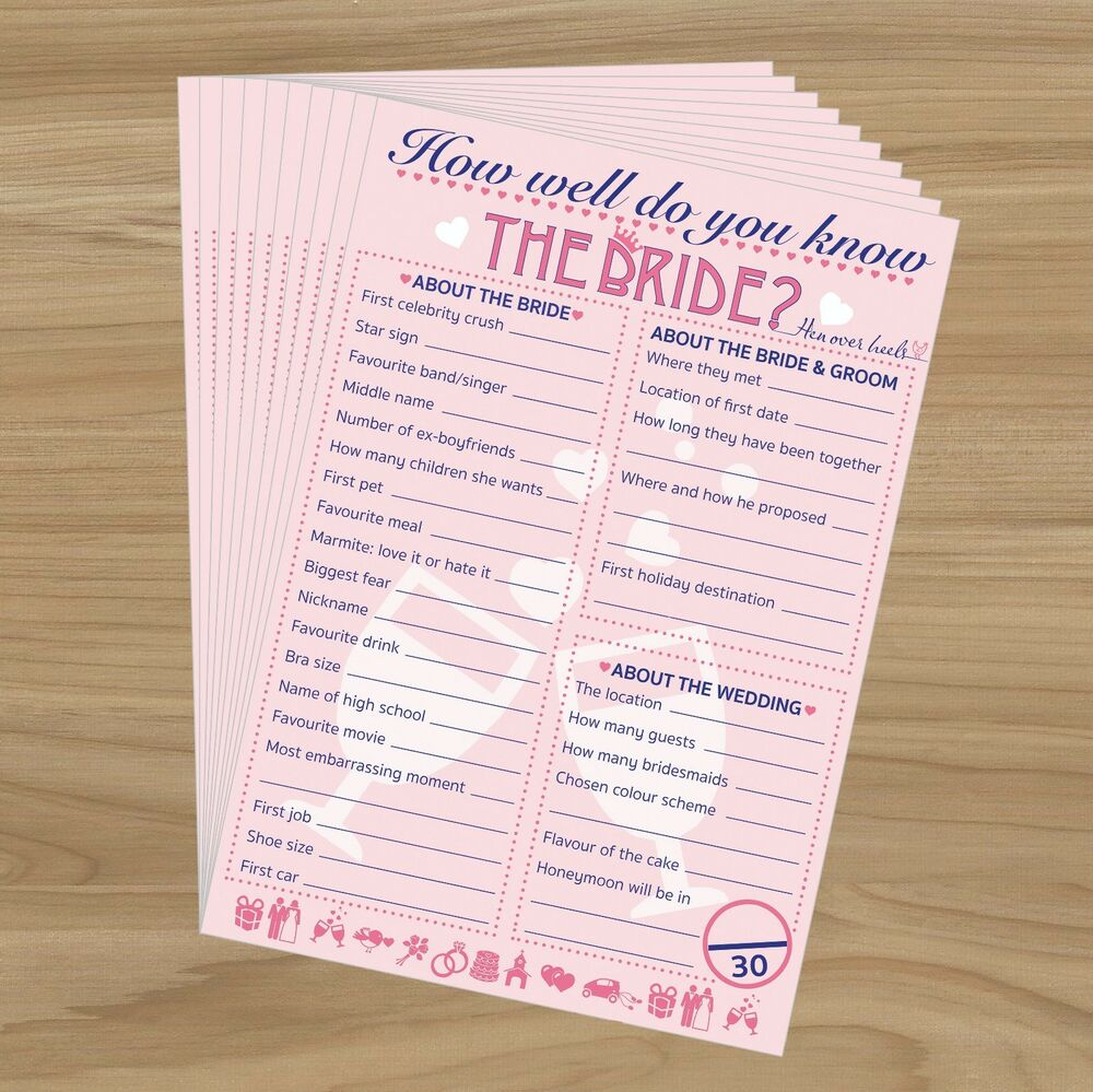 20 X How Well Do You Know The Bride? HEN NIGHT PARTY GAME