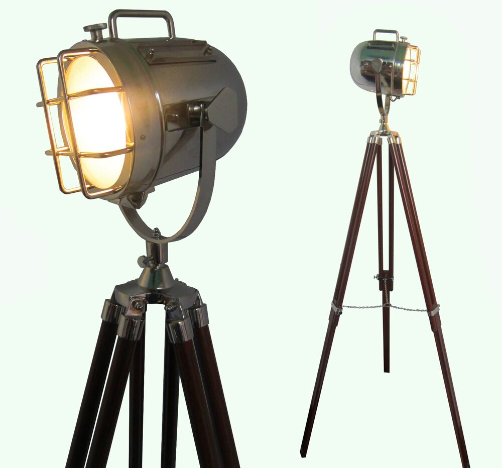 Floor lamp home decorative vintage design tripod lighting searchlight spot light ebay - Tripod spotlight lamp ...