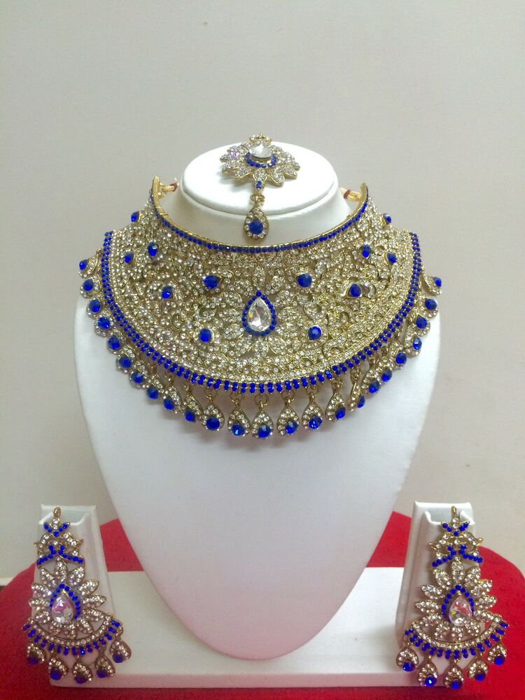 Indian Bollywood Style Fashion Gold Plated Bridal Jewelry Necklace Set Ebay