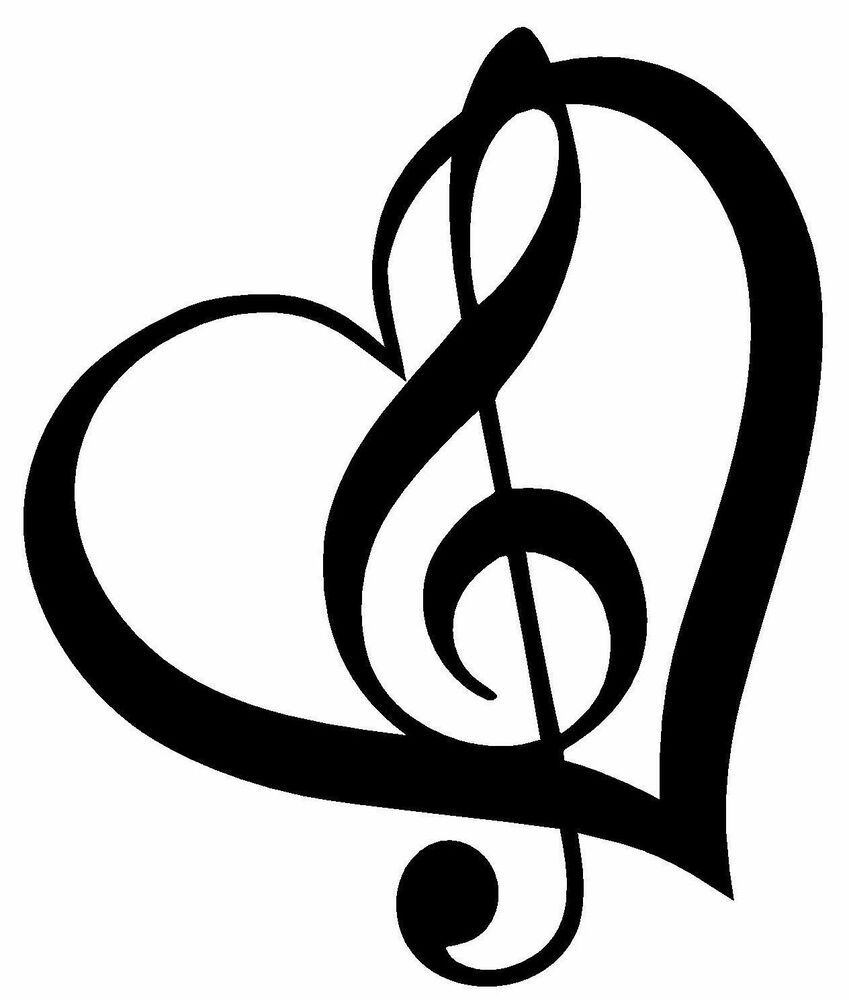 Treble Clef Inside Heart With Outline Vinyl Decal Sticker Cute Music
